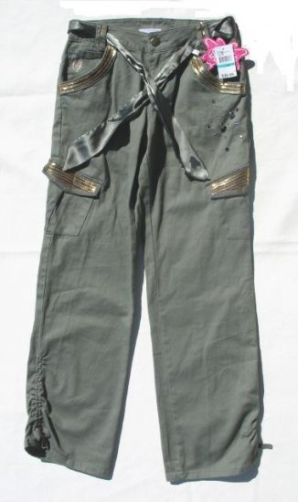 STEVIE'S Girls Green Gold Jeweled Cargo Pants 16 NEW
