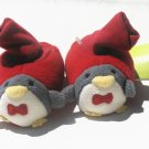 GYMBOREE Holiday  Boys Red Penguin Slippers 01/02 0 3 6 Mo NEW