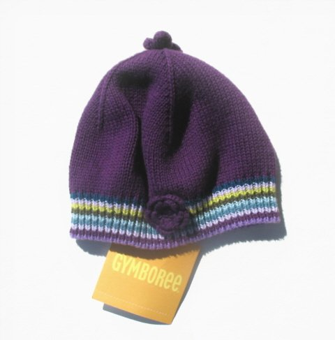 GYMBOREE Fun In The Snow Girls Purple Knit Winter Hat 0 3 Mo NEW