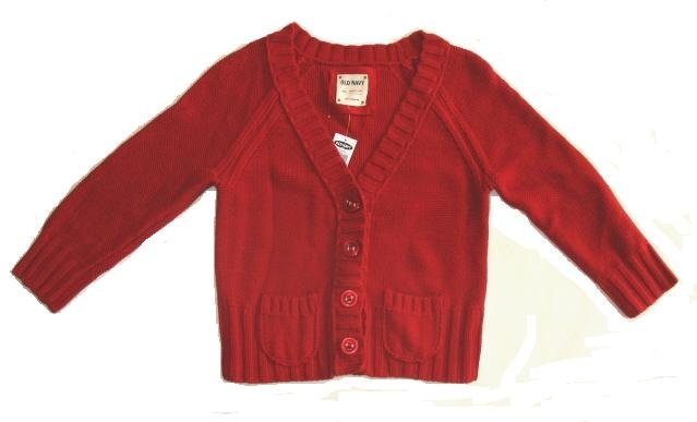 OLD NAVY Womens Red 3/4 Sleeve Button Front Cardigan Sweater M 8 10 NEW