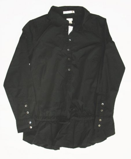 OLD NAVY Maternity Black Tunic Button Front Shirt Top M NEW