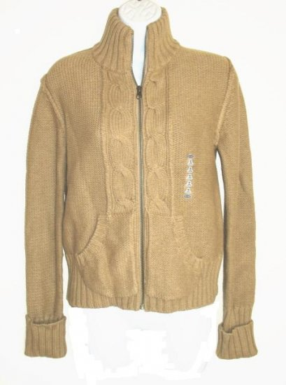 OLD NAVY Womens Tan Chunky Cable Knit Zip Sweater S 4 6 NEW