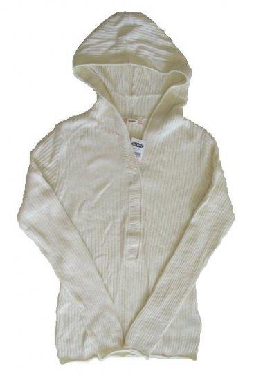 OLD NAVY Womens Cream Angora Sweater Hoodie L 12 14 NEW