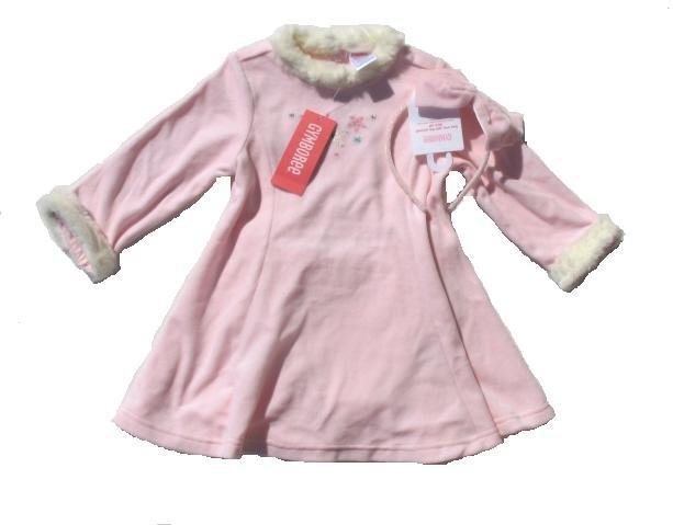 GYMBOREE Princess Snow Drop Girls Pink Velour Swing Dress 18 24 Mo NEW