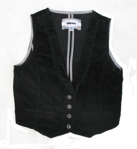 LIMITED TOO Girls Black Velvet Vest 14 NEW