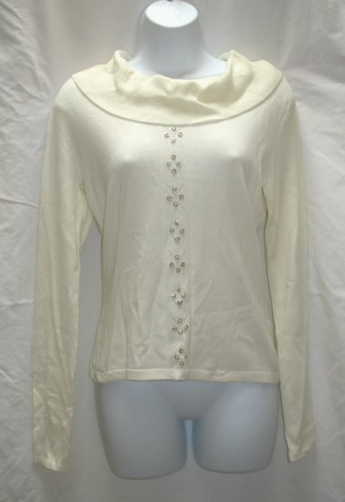 RENA ROWAN Womens Winter White Broad Neck Sweater M 8 10 NEW