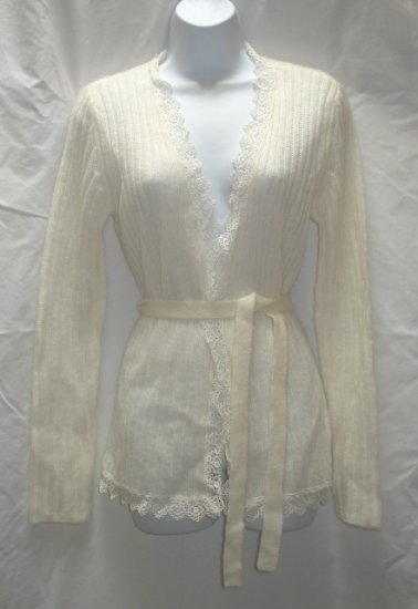 APOSTROPHE Womens Ivory Wrap Sweater Coat S 6 8 NEW