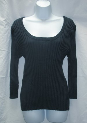 APOSTROPHE Womens Plus Blue Ribbed Scoop Neck Sweater XL 18 20 NEW