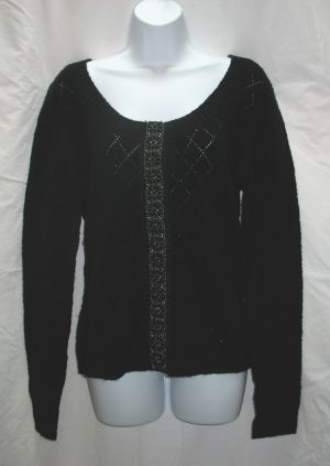 APOSTROPHE Womens Black Scoop Neck Cardigan Sweater XL 18 20 NEW