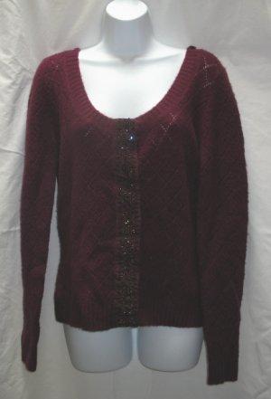 APOSTROPHE Womens Plus Plum Scoop Neck Cardigan Sweater XL 18 20 NEW