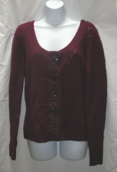 APOSTROPHE Womens Plum Scoop Neck Cardigan Sweater L 14 16 NEW