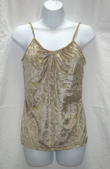 PERSONAL ID Juniors Gold Velour Cami Tank Top L 11 13 NEW