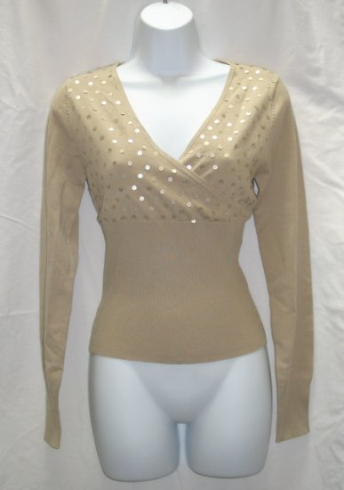 SAY WHAT Juniors Tan Sequin Wrap Bodice Sweater M 7 9 NEW
