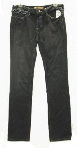 OLD NAVY Womens Black Stretch Denim Jeans Belt 6 Long NEW