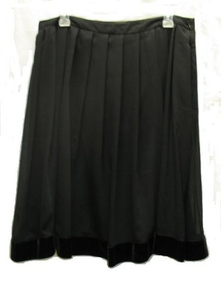 NICOLE MILLER Womens Black Pleated Velvet Trim Holiday Skirt 8 NEW