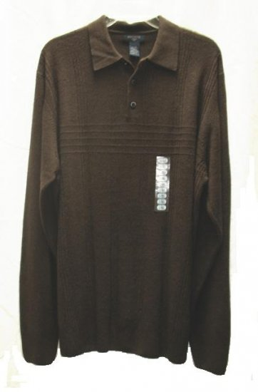 DOCKERS Mens Big Tall Brown LS Sweater L NEW