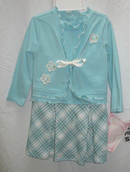 YOUNGLAND Girls Aqua Plaid Cardigan Skirt Dress 24 Mo NEW