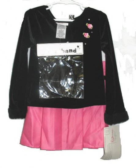 YOUNGLAND Girls 3pc Velour Top Pink Satin Skirt 6 NEW