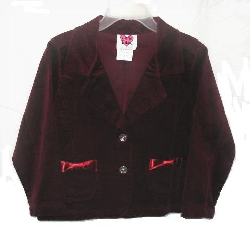 LITTLE LASS Girls Burgandy Red Velvet Jacket Coat Blazer 4T NEW