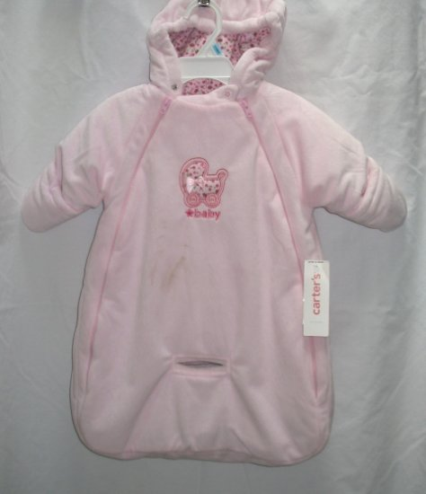 CARTERS Girls Pink Velour Snowsuit Bag 0 3 6 Mo NEW