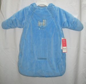 CARTERS Boys Blue Velour Snowsuit Bag 0 3 6 Mo NEW