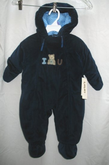 CARTERS Boys Navy Blue Velour Snowsuit 6 9 Mo NEW