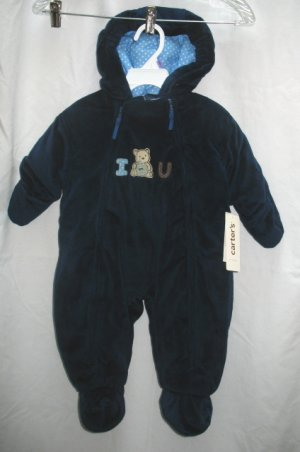 CARTERS Boys Navy Blue Velour Snowsuit 6 9 Mo NEW