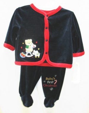 BABY HEADQUARTERS Boys Navy Blue Velour Holiday Christmas Outfit 0 3 Mo NEW