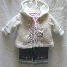 CRADLE TOGS Girls 3pc Jeans Shirt Wool Coat Outfit Set 3 6 Mo NEW