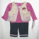 NICK JR. DORA Girls 3pc Outfit Set Jeans Suede Vest Top 12 Mo NEW