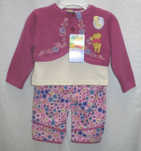 DISNEY Girls Pooh 3pc Outfit Set Cord Pants Shirt Top Shrug Sweater 12 Mo NEW