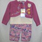 DISNEY Girls Pooh 3pc Outfit Set Cord Pants Shirt Top Shrug Sweater 12 Mo NEW