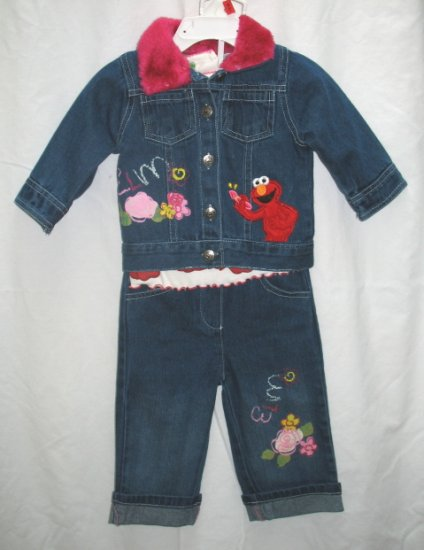 ELMO Girls 3pc Outfit Set Denim Jeans Jacket Shirt Top 12 Mo NEW