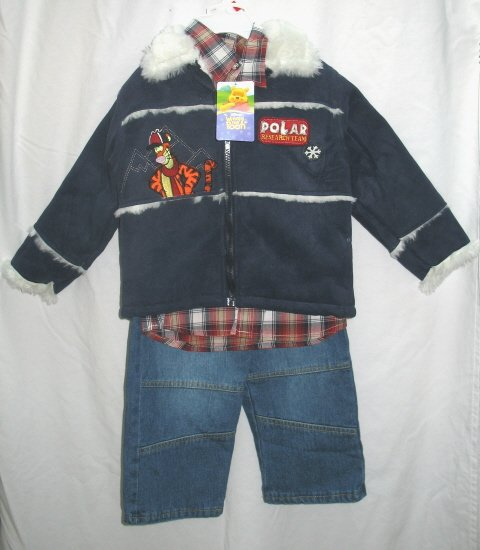 DISNEY TIGGER Boys 3pc Outfit Set Suede Polar Coat Jeans Shirt 4T NEW