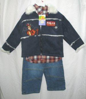 DISNEY TIGGER Boys 3pc Outfit Set Suede Polar Coat Jeans Shirt 4T NEW