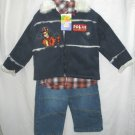 DISNEY TIGGER Boys 3pc Outfit Set Navy Suede Coat Shirt Jeans 3T NEW
