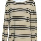 EAST 5TH Womens Tan Black Stripe Sweater L 14 16 NEW
