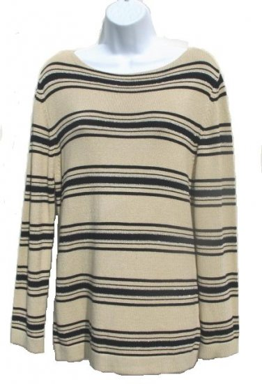 EAST 5TH Womens Tan Black Stripe Sweater M 8 10 NEW
