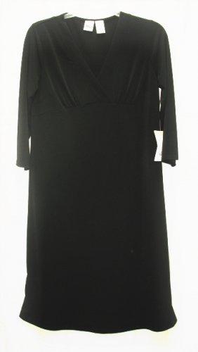 DUO Maternity Black Wrap Bodice Dress S Small NEW