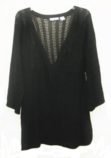 SOON TO BE Maternity Black Loose Knit Tunic Sweater L NEW