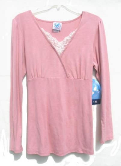 PLANET MOTHERHOOD Maternity Pink Lace Wrap Bodice LS Shirt M NEW