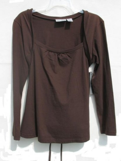 WE'RE TOGETHER Maternity Brown Shrug LS Shirt Top M NEW