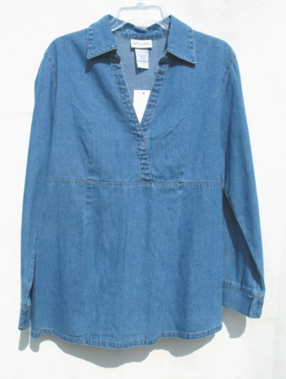 OH MAMMA Maternity Denim LS Shirt Top L NEW