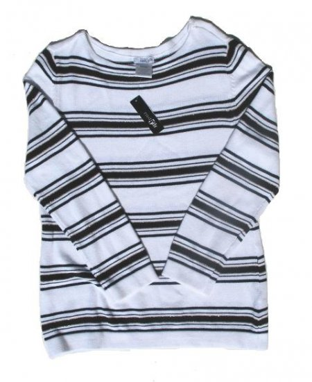 EAST 5TH Womens White Black Stripe Wide Neck Sweater M 8 10 NWT NEW
