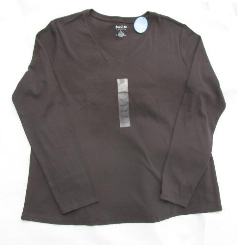 SOON TO BE Maternity LS Brown V Shirt Top L 14 16 NWT NEW