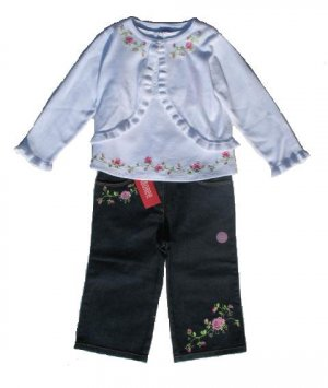 GYMBOREE Parisian Rose Girls Denim Jeans Top Sweater Set 3T NWT NEW