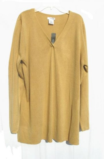EAST 5TH Womens Tan V Neck Sweater 1X XL 16 18 NWT NEW