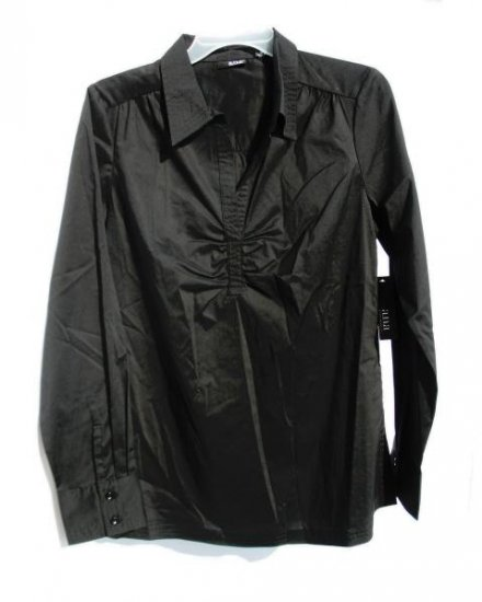 ANA Womens Black Pinch Front Dress Shirt M 8 10 NWT NEW