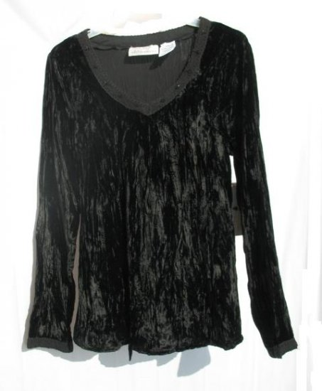 OH MAMMA Maternity Black Crinkle Velour Shirt Top M 8 10 NWT NEW