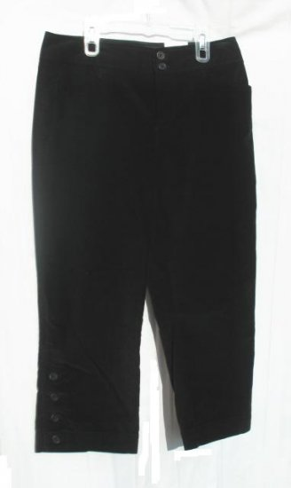 ANA Womens Black Velvet Crop Pants Capris 8 NWT NEW